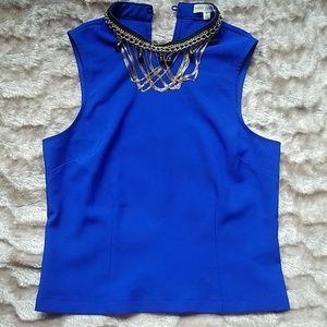 Sleeveless royal blue top